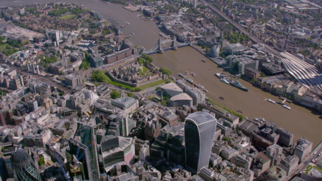aerial view of the city and the shard, london, uk. 4k - tower of london stock videos & royalty-free footage