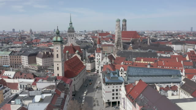 aerial view of the city center beeing nearly empty following the tightening of measures affecting public life due to the coronavirus. all non... - non urban scene stock-videos und b-roll-filmmaterial