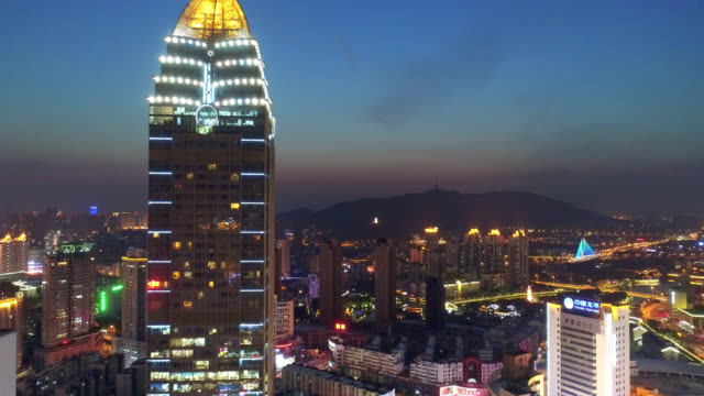 aerial view of the city center night scene - wuxi stock videos and b-roll footage