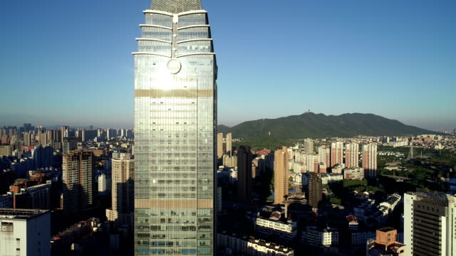 Aerial view of the city center of wuxi