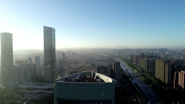 aerial view of the city center of wuxi - wuxi stock videos and b-roll footage