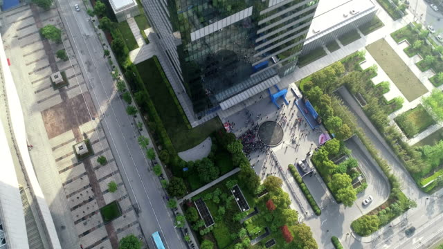 aerial view of the city center  scene - mid section stock videos & royalty-free footage