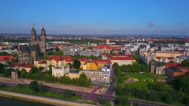 aerial view of the city centre of magdeburg with magdeburg cathedral, elbe river, saxony-anhalt, germany - clear sky stock videos & royalty-free footage