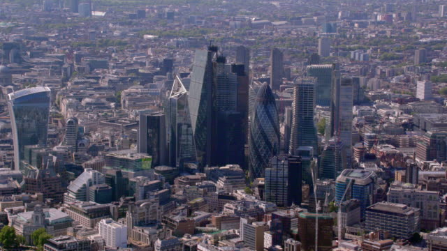 aerial view of the city, london, uk. 4k - city of london stock videos & royalty-free footage