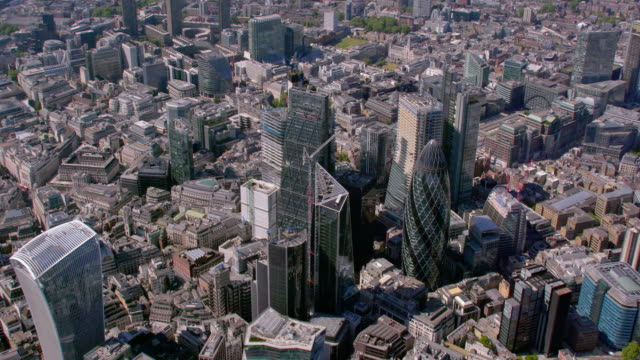 aerial view of the city, london, uk. 4k - stock market stock videos & royalty-free footage