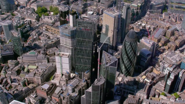 aerial view of the city, london, uk. 4k - swiss re stock videos & royalty-free footage