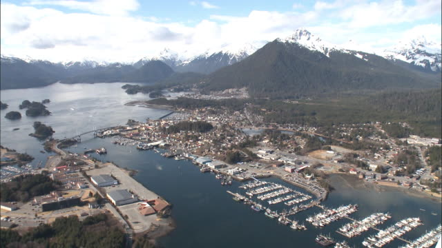 Aerial view of the city of Sitka in Alaska, USA