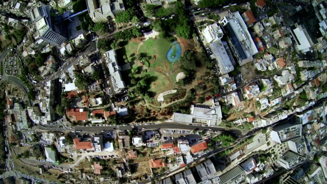 aerial view of the city park - haifa stock videos and b-roll footage