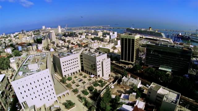 aerial view of the city port haifa - haifa stock videos and b-roll footage