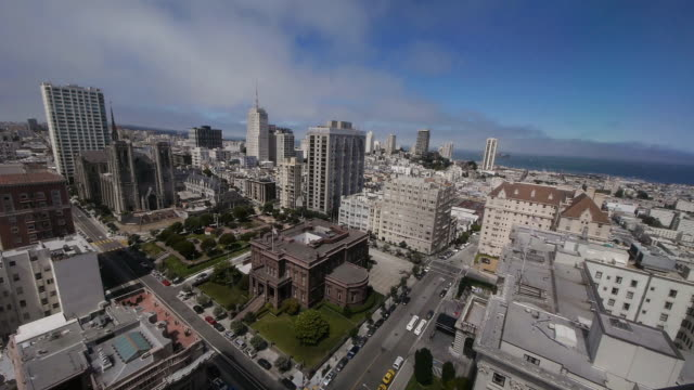 tl- ws aerial view of the cityscape in nob hill, san francisco - nob hill stock videos & royalty-free footage