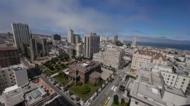 ws aerial view of the cityscape in nob hill, san francisco - nob hill stock videos & royalty-free footage