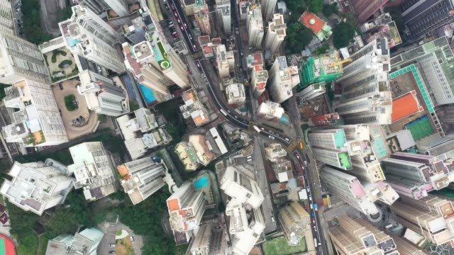 aerial view of the city.top view of hong kong - top capo di vestiario video stock e b–roll