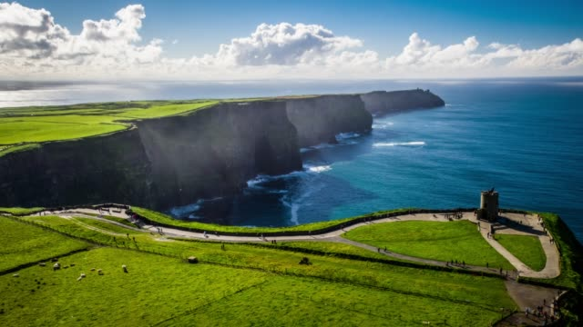 Aerial view of the Cliffs of Moher on the west coast of Ireland.