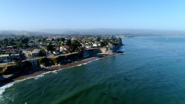 aerial view of the coast of santa cruz california - santa cruz california stock videos and b-roll footage