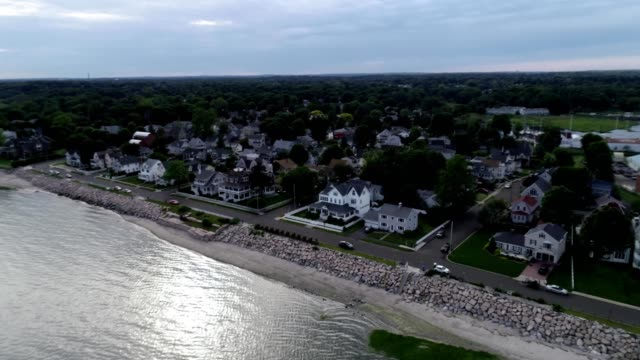 aerial view of the coastline of milford connecticut - connecticut stock videos & royalty-free footage