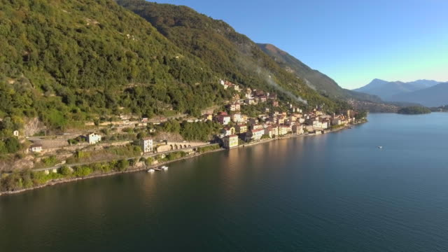 aerial view of the como lake village - cote d'azur stock videos & royalty-free footage