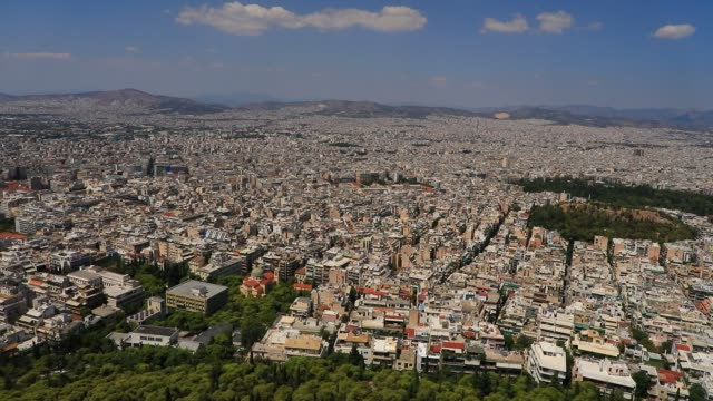 aerial view of the concrete jungle that forms the metropolitan area pictured from the lycabettus hill viewpoint on august 23 2020 in athens during... - lycabettus hill stock videos & royalty-free footage