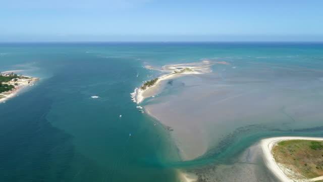 aerial view of the coroa do avião island in pernambuco, brazil - ventura stock videos and b-roll footage