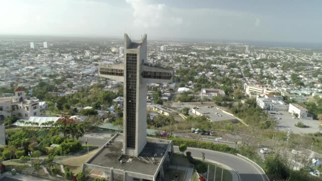 aerial view of the cruceta el vigia the watchman cross in ponce puerto rico - puerto rico stock videos and b-roll footage