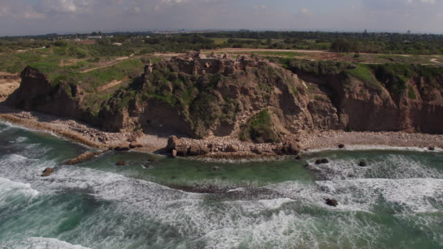 aerial view of the crusader apollonia-arsuf fortress, israel. - israel stock-videos und b-roll-filmmaterial