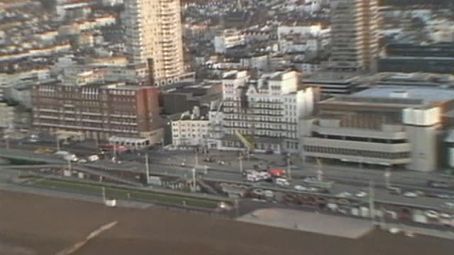 aerial view of the damage caused to the grand hotel in brighton by an ira bombing. - brighton england stock videos & royalty-free footage