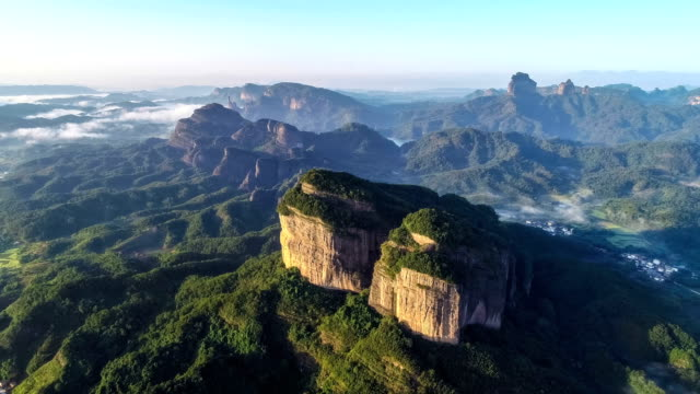 aerial view of the danxia mountain - drone point of view stock videos & royalty-free footage