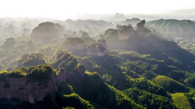 aerial view of the danxia mountain - travel destinations stock videos & royalty-free footage