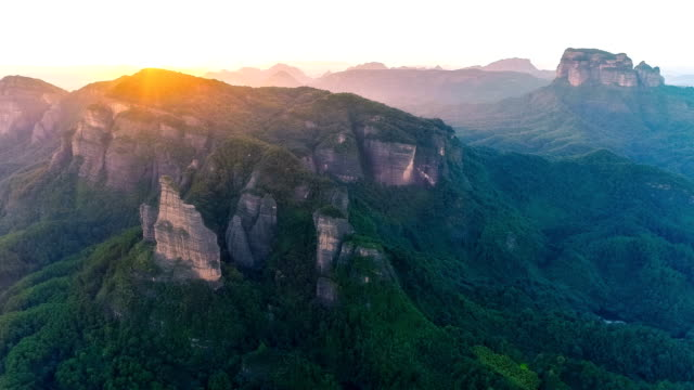 aerial view of the danxia mountain - canyon stock videos and b-roll footage