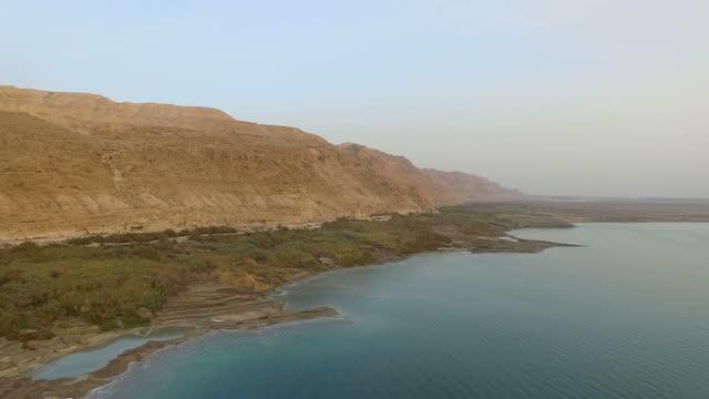 Aerial view of The Dead sea coast at sunrise / Judea desert, Judean Desert , Israel