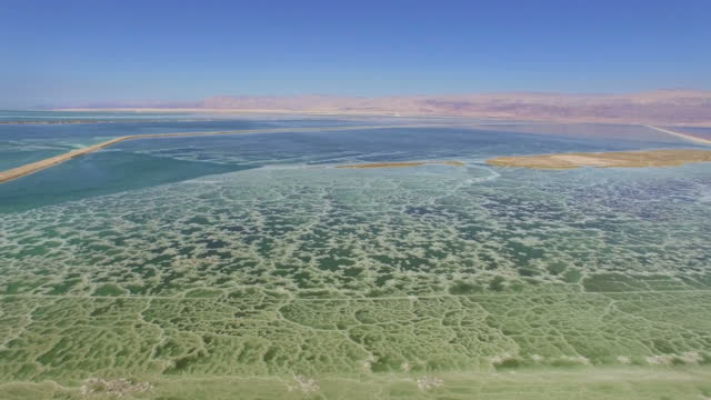 aerial view of the dead sea-crystal formations made from salt - dead sea stock videos and b-roll footage