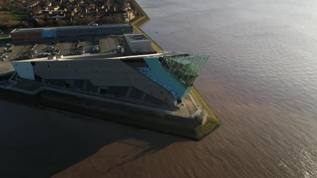 aerial view of the deep aquarium in hull - hull stock videos & royalty-free footage