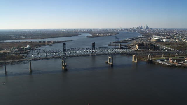 Aerial view of the Delaware River at the Betsy Ross Bridge with Philadelphia in the distance. Shot in 2011.