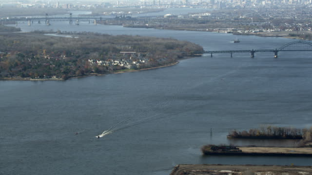 Aerial view of the Delaware River at the Tacony Palmyra Bridge between Pennsylvania and New Jersey. Shot in 2011.