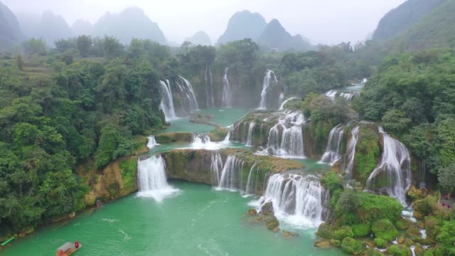 aerial view of the detian waterfall on december 25, 2019 in chongzuo, guangxi zhuang autonomous region of china. - guangxi zhuang autonomous region china stock videos & royalty-free footage