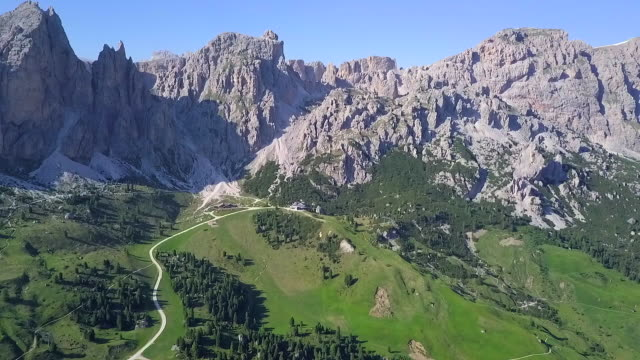 aerial view of the dolomites mountains, italy - val gardena stock videos & royalty-free footage