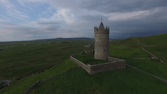 aerial view of the doonagore castle. doolin, ireland. - doolin stock videos & royalty-free footage
