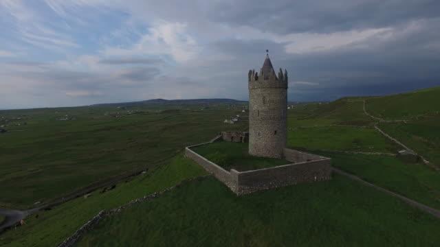 Aerial view of the Doonagore Castle. Doolin, Ireland.