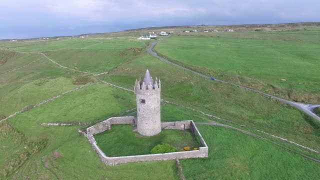 aerial view of the doonagore castle. doolin, ireland. - old ruin stock videos and b-roll footage