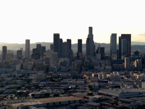 aerial view of the downtown los angeles business district. - city of los angeles stock videos & royalty-free footage