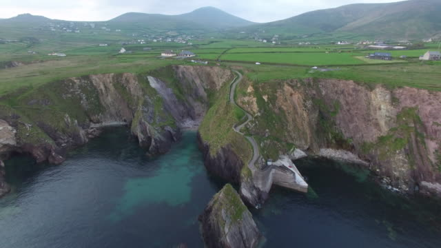 Aerial view of the Dunquin Pier. Dingle, Ireland.