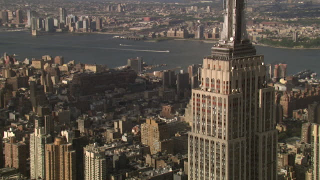 aerial view of the empire state building, new york, usa - empire state building stock videos & royalty-free footage