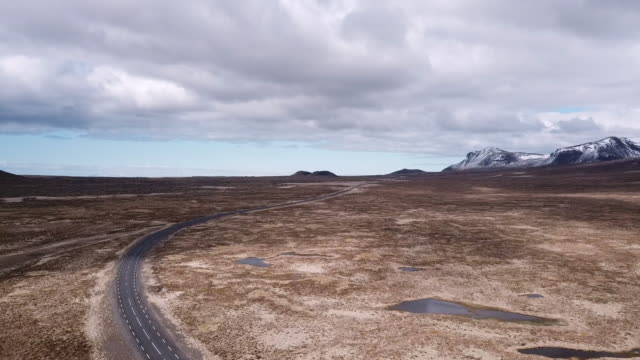 Aerial view of the empty road in Snaefellsness peninsula, Iceland