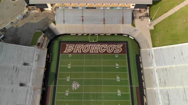 Aerial view of the endzone of a football stadium at Western Michigan University Waldo Stadium in Kalamazoo Michigan