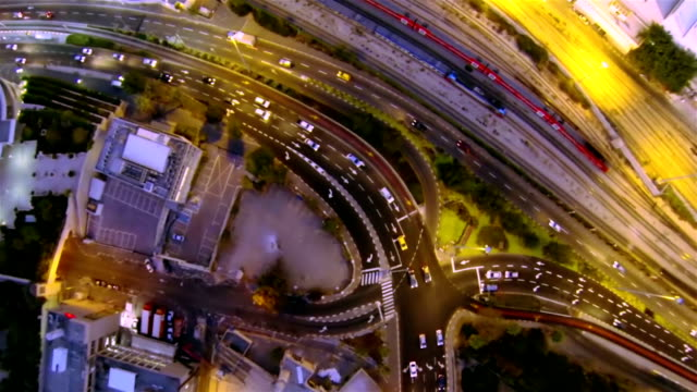 aerial view of the evening city - haifa stock videos and b-roll footage