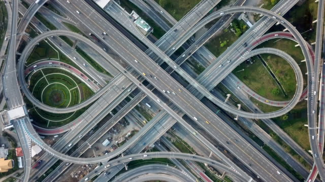 aerial view of the expressway - road junction stock videos & royalty-free footage