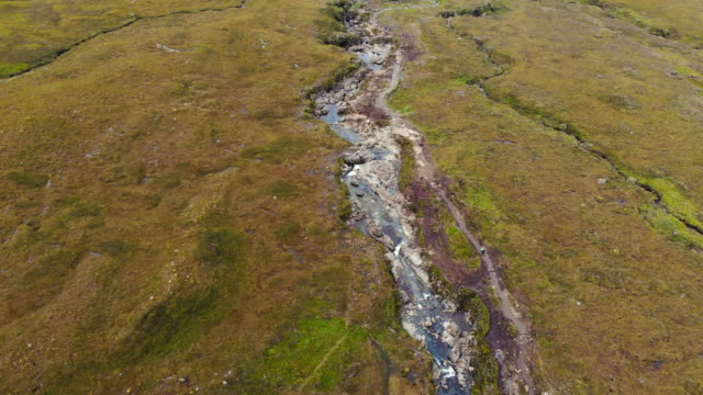 aerial view of the fairy pools with stunning landscape in the island of skye. - fairy stock videos & royalty-free footage