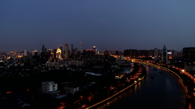 Aerial view of the Famous canal city of wuxi
