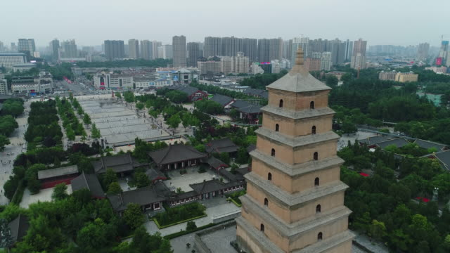 aerial view of the famous giant wild goose pagoda in china - pagoda stock videos & royalty-free footage