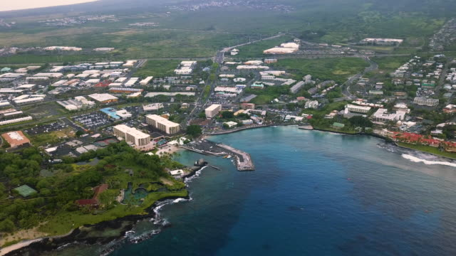 aerial view of the famous hawaiian kailua-kona city bay, usa - big island hawaii islands stock videos & royalty-free footage