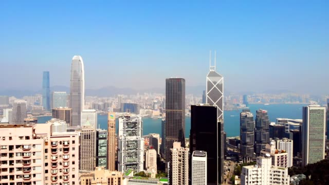 aerial view of the famous hong kong island central business district - hong kong island stock videos & royalty-free footage